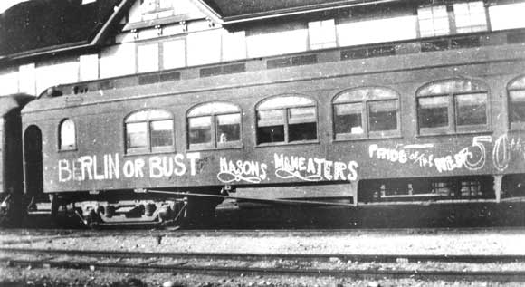 A railway car used by the 50th Battalion.